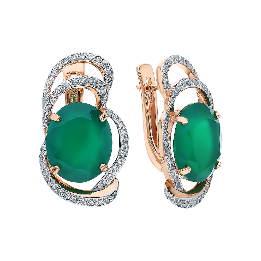 Фото «Золотые серьги с ониксом и бриллиантами»