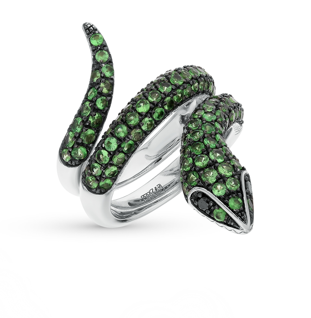 Фото «золотое кольцо с чёрными бриллиантами и гранатом»