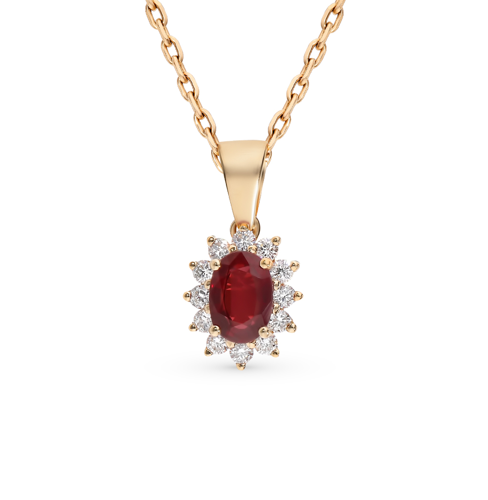 золотая подвеска с рубинами и бриллиантами