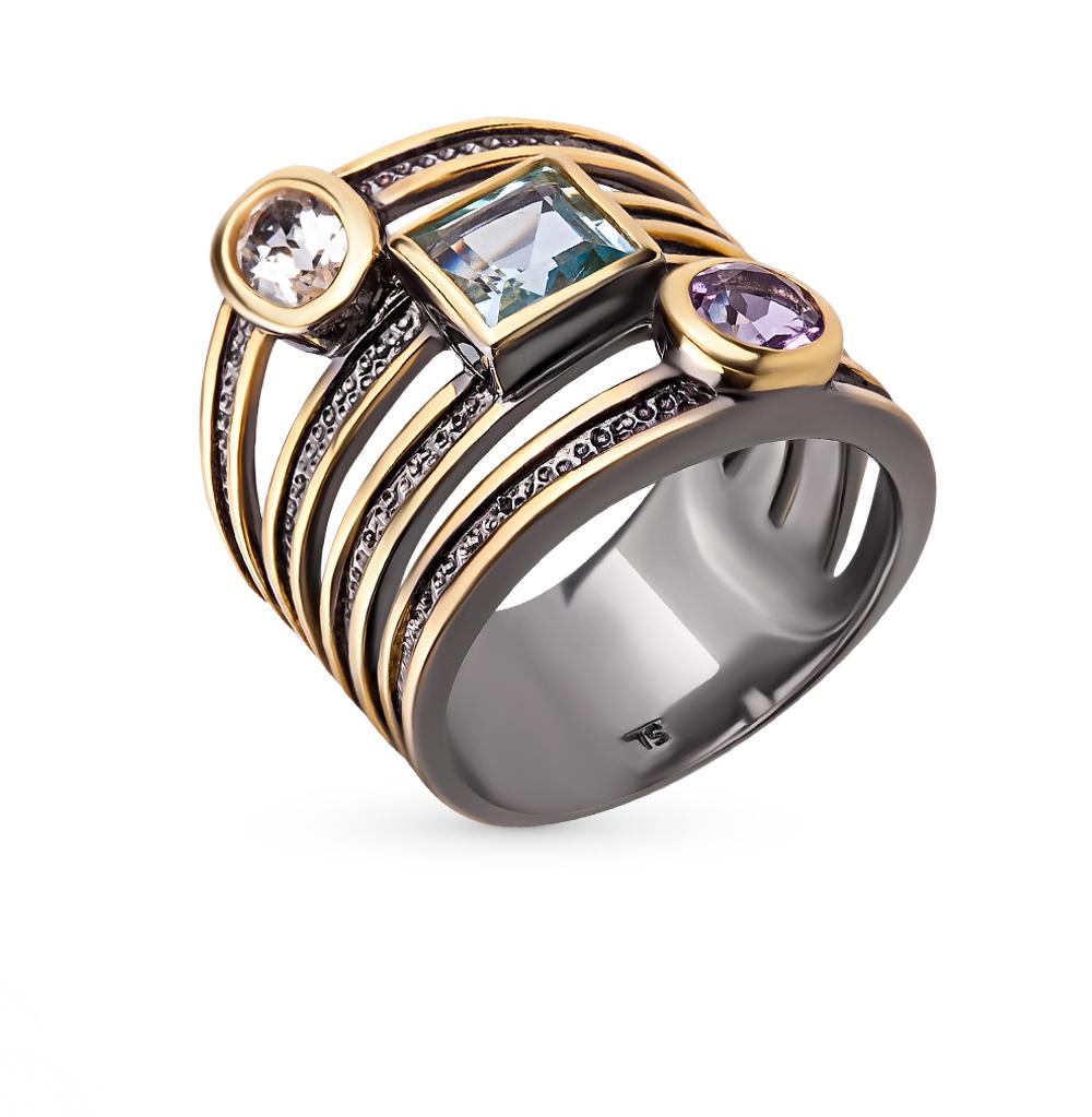 Фото «серебряное кольцо с аметистом и топазами»