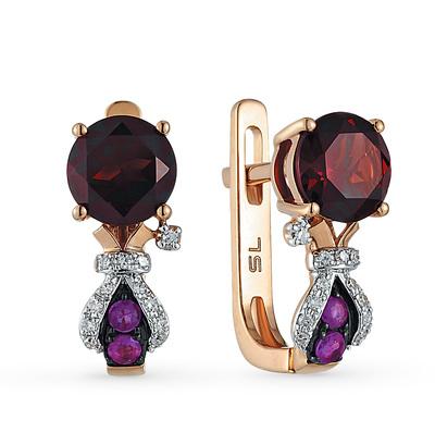 Фото «золотые серьги с гранатом, рубинами и бриллиантами»