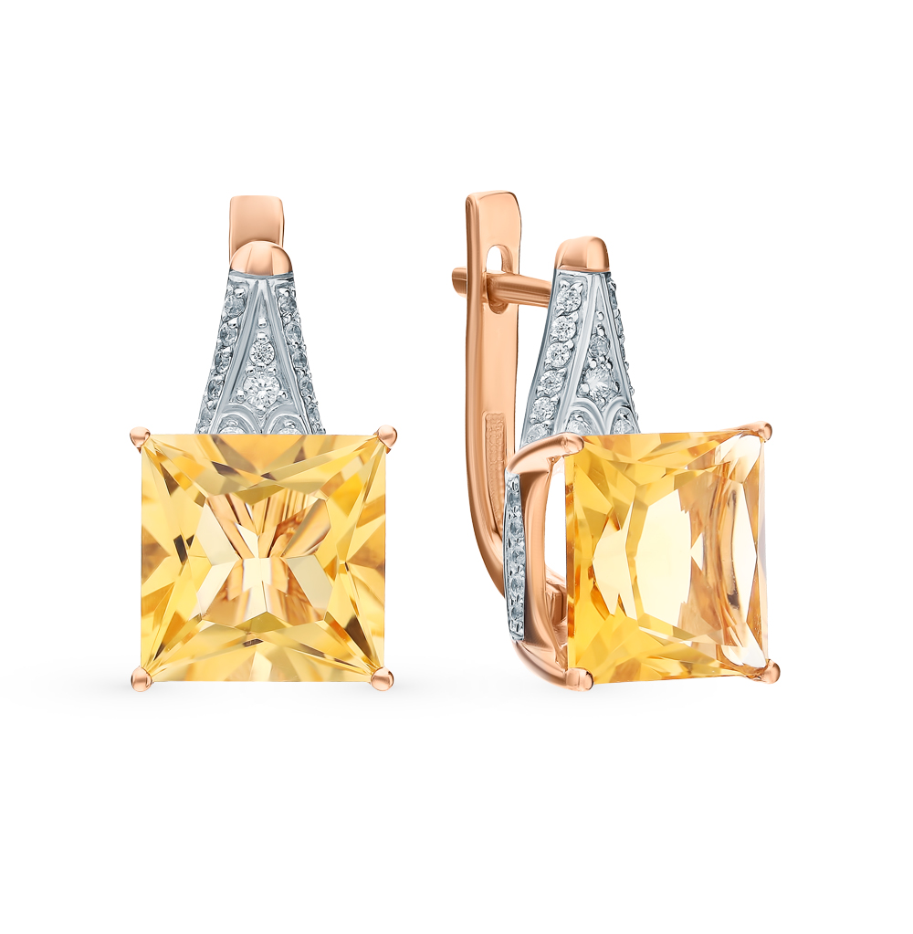 золотые серьги с фианитами и цитринами