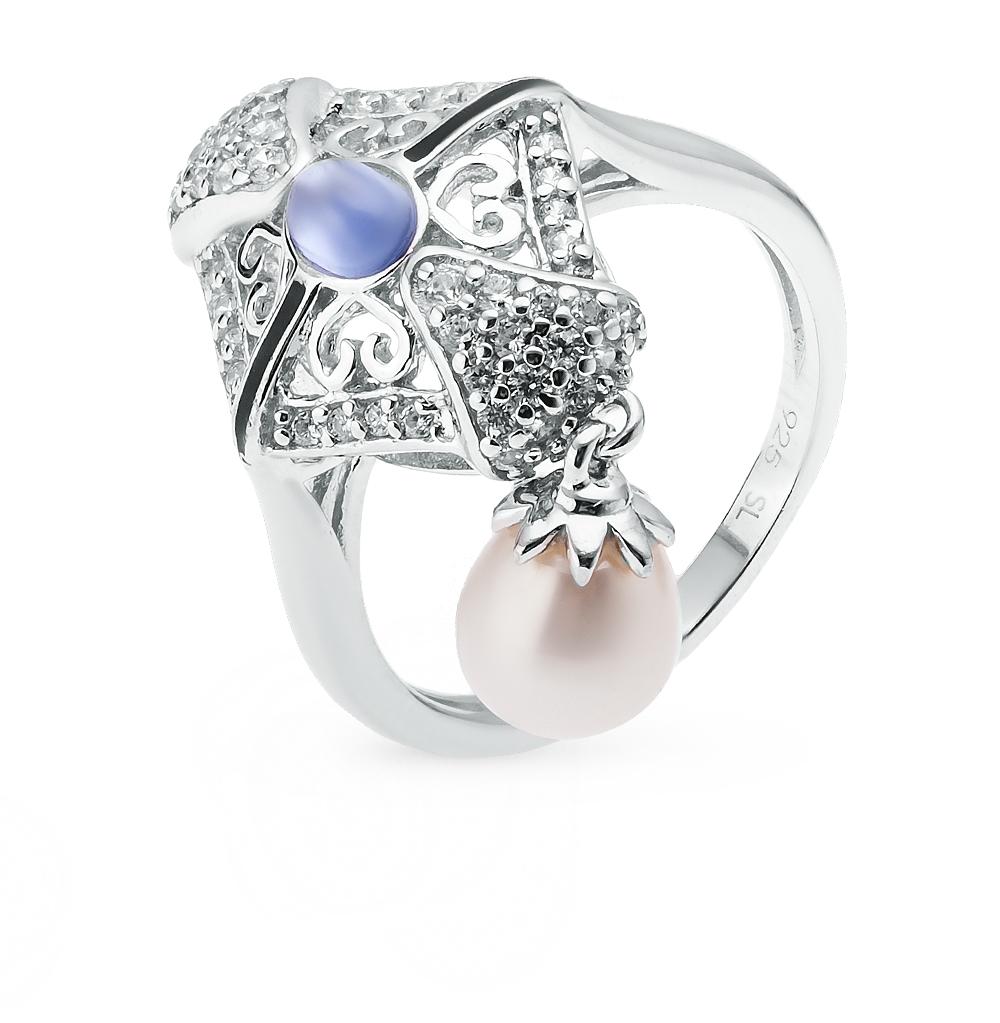 Фото «серебряное кольцо с фианитами, эмалью и культивированными жемчугами»
