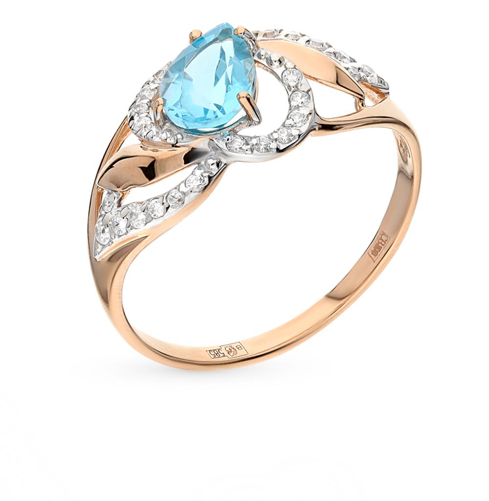 золотое кольцо с топазами и фианитами SOKOLOV 714457*