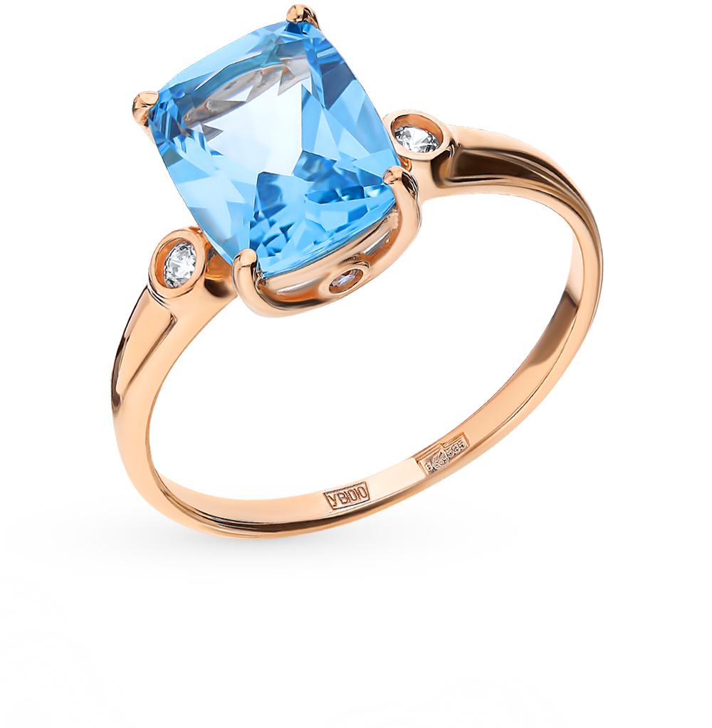 золотое кольцо с топазами и фианитами SOKOLOV 714907*