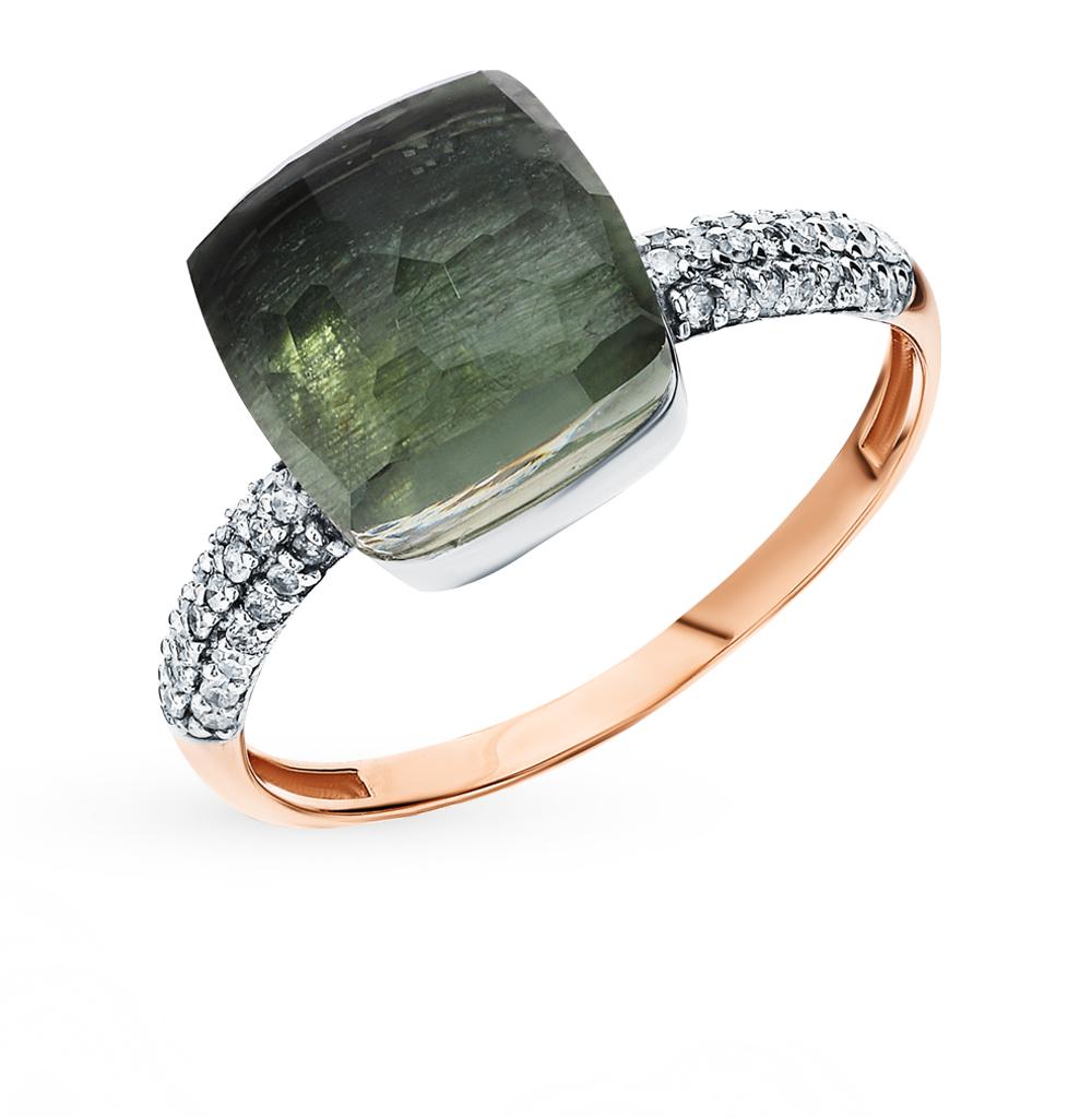 Фото «Золотое кольцо с празиолитами и бриллиантами»