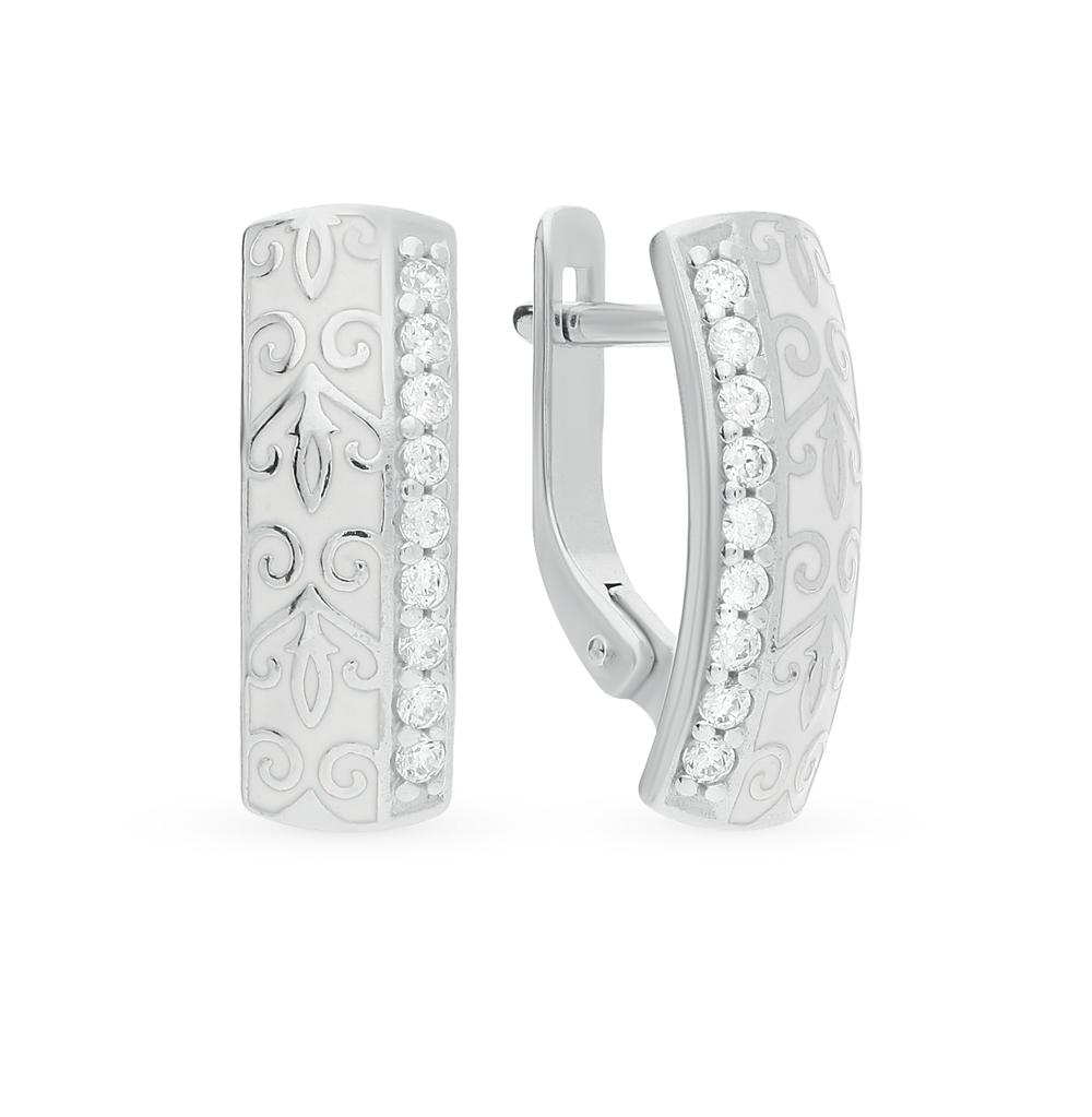 серебряные серьги с фианитами и эмалью SOKOLOV 94021528