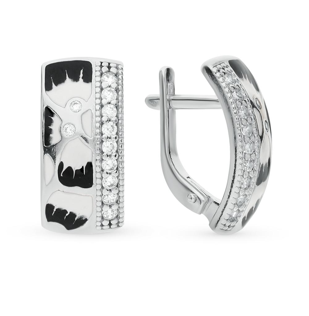 серебряные серьги с фианитами и эмалью SOKOLOV 94022149