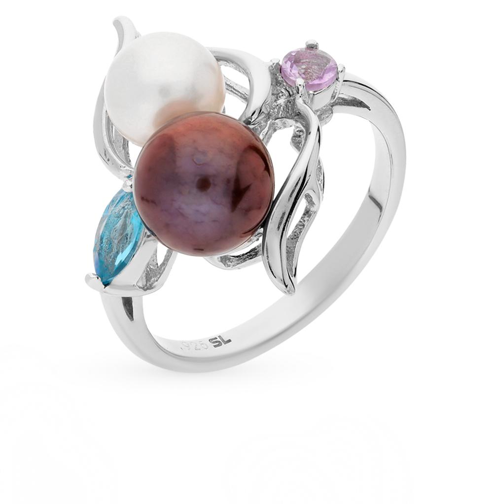 Фото «серебряное кольцо с аметистом, топазами и жемчугом»