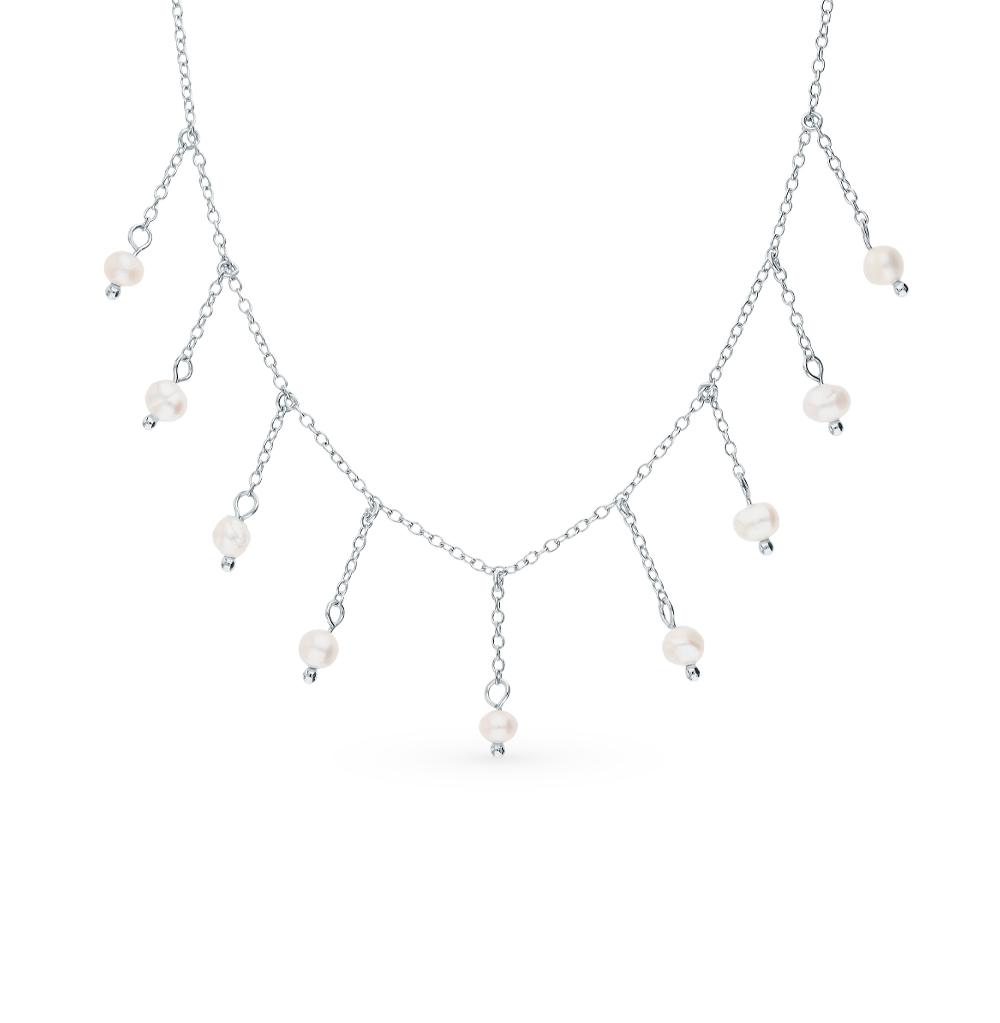 Фото «Серебряное шейное украшение с жемчугами культивированными»