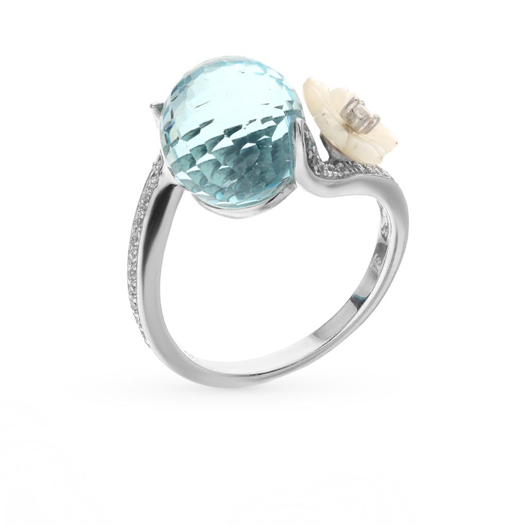 Фото «серебряное кольцо с топазами, фианитами и перламутром»