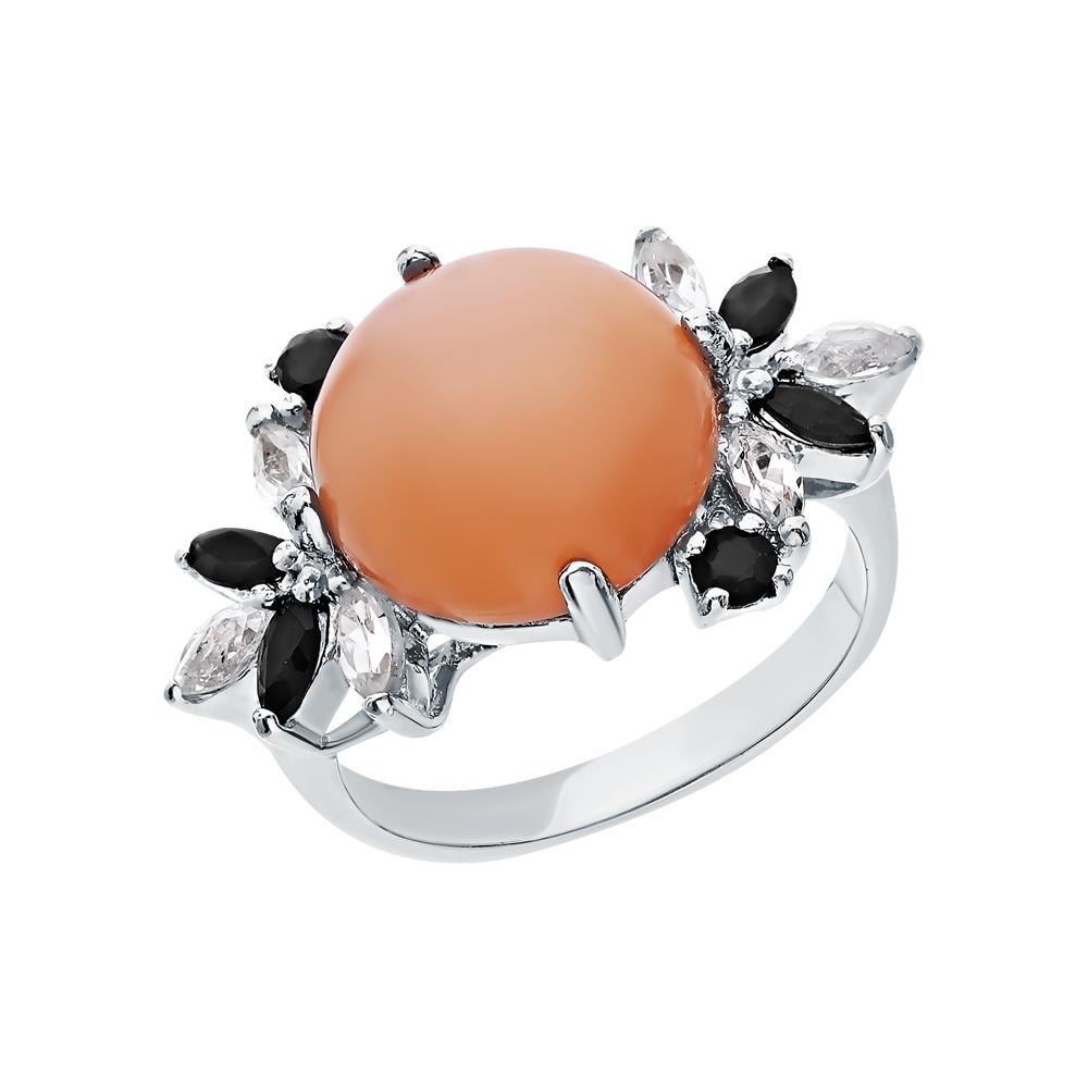 Фото «Серебряное кольцо с сапфирами, халцедонами и топазами»