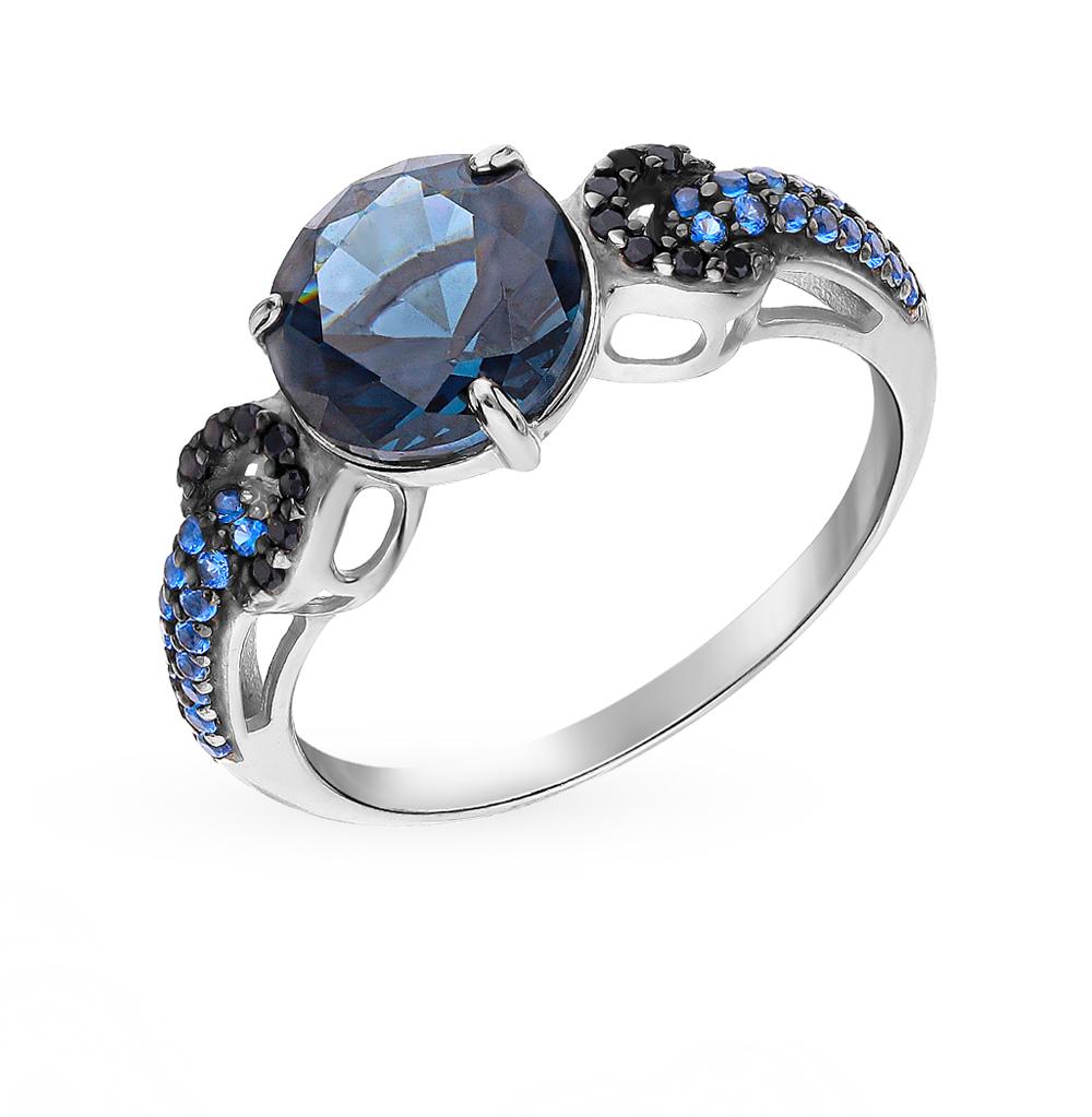 Серебряное кольцо с нанокристаллами, сапфирами и топазами в Екатеринбурге