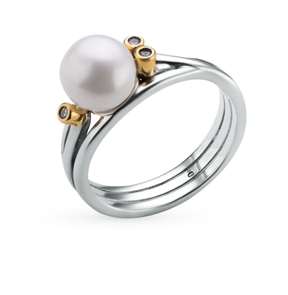 Фото «кольцо из серебра с фианитами и жемчугом имитацией»