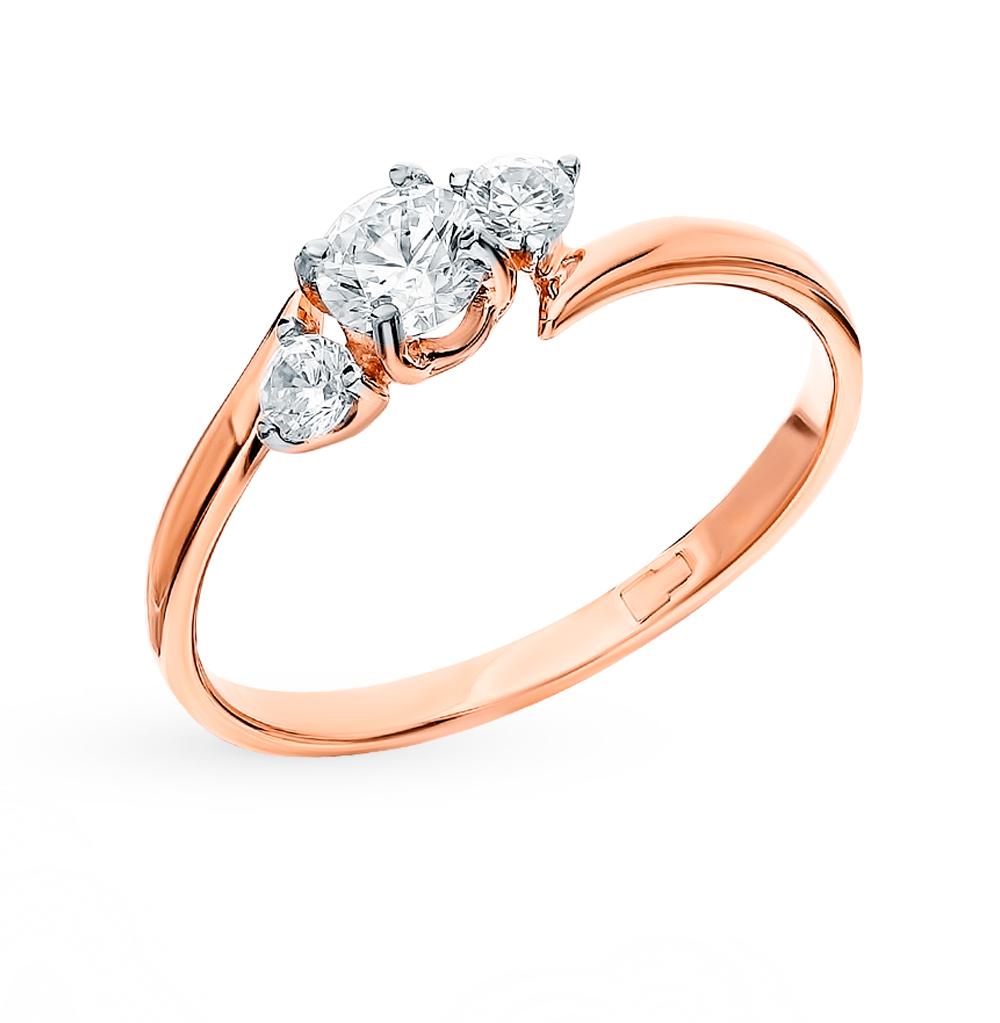 золотое кольцо с фианитами SOKOLOV 018463*