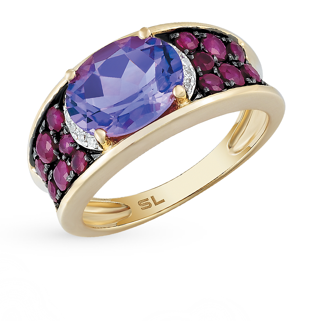Золотое кольцо с рубинами, аметистом и бриллиантами в Екатеринбурге