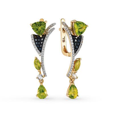 Фото «золотые серьги с чёрными бриллиантами, топазами, хризолитом и бриллиантами»