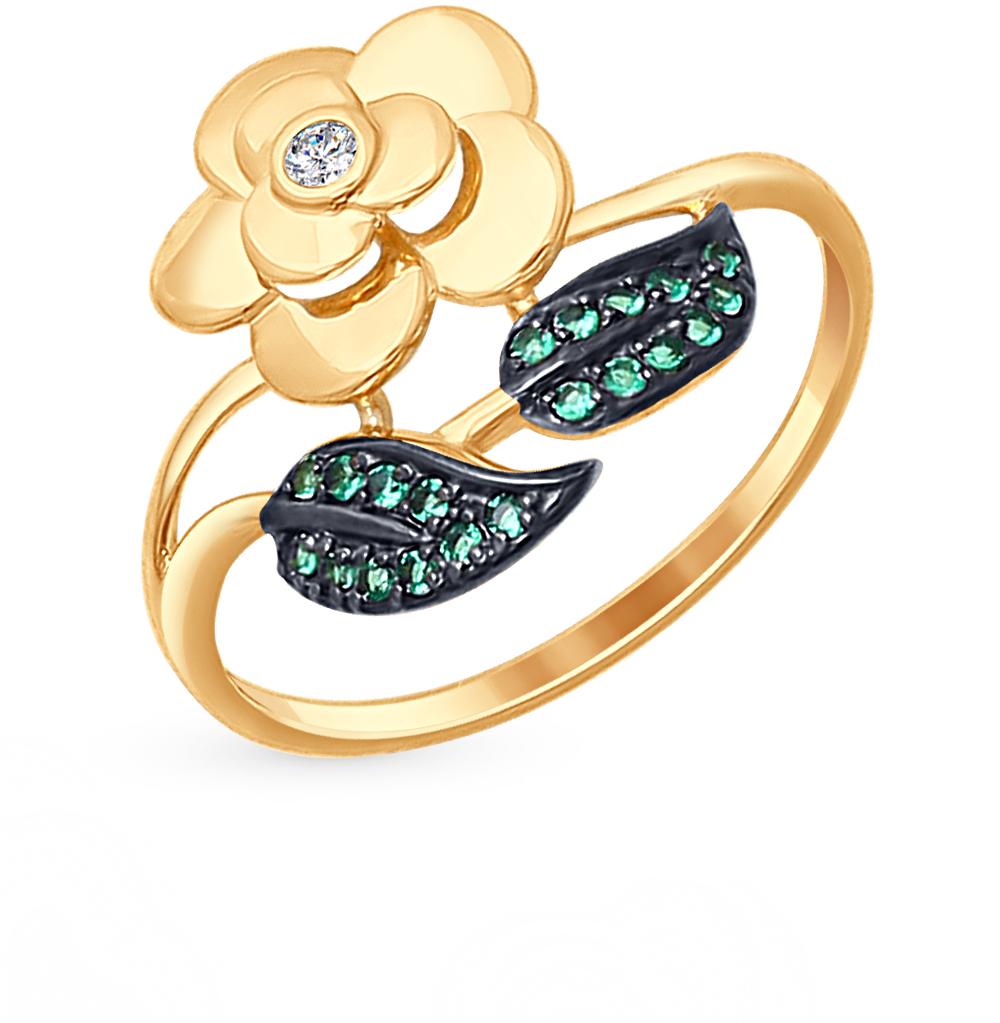 золотое кольцо с фианитами SOKOLOV 017292*