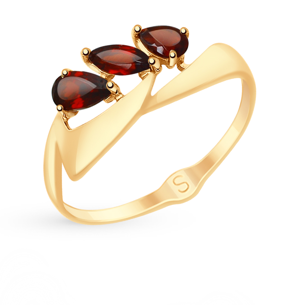 Фото «Золотое кольцо с гранатом SOKOLOV 715127*»
