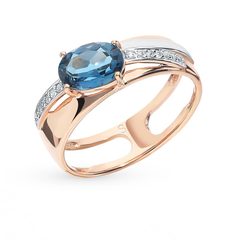 Золотое кольцо с топазом и фианитами SOKOLOV 715629*