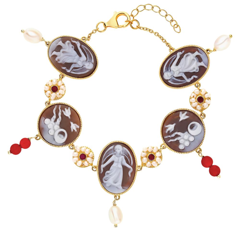 серебряный браслет с сердоликом, рубинами, агатом и жемчугом