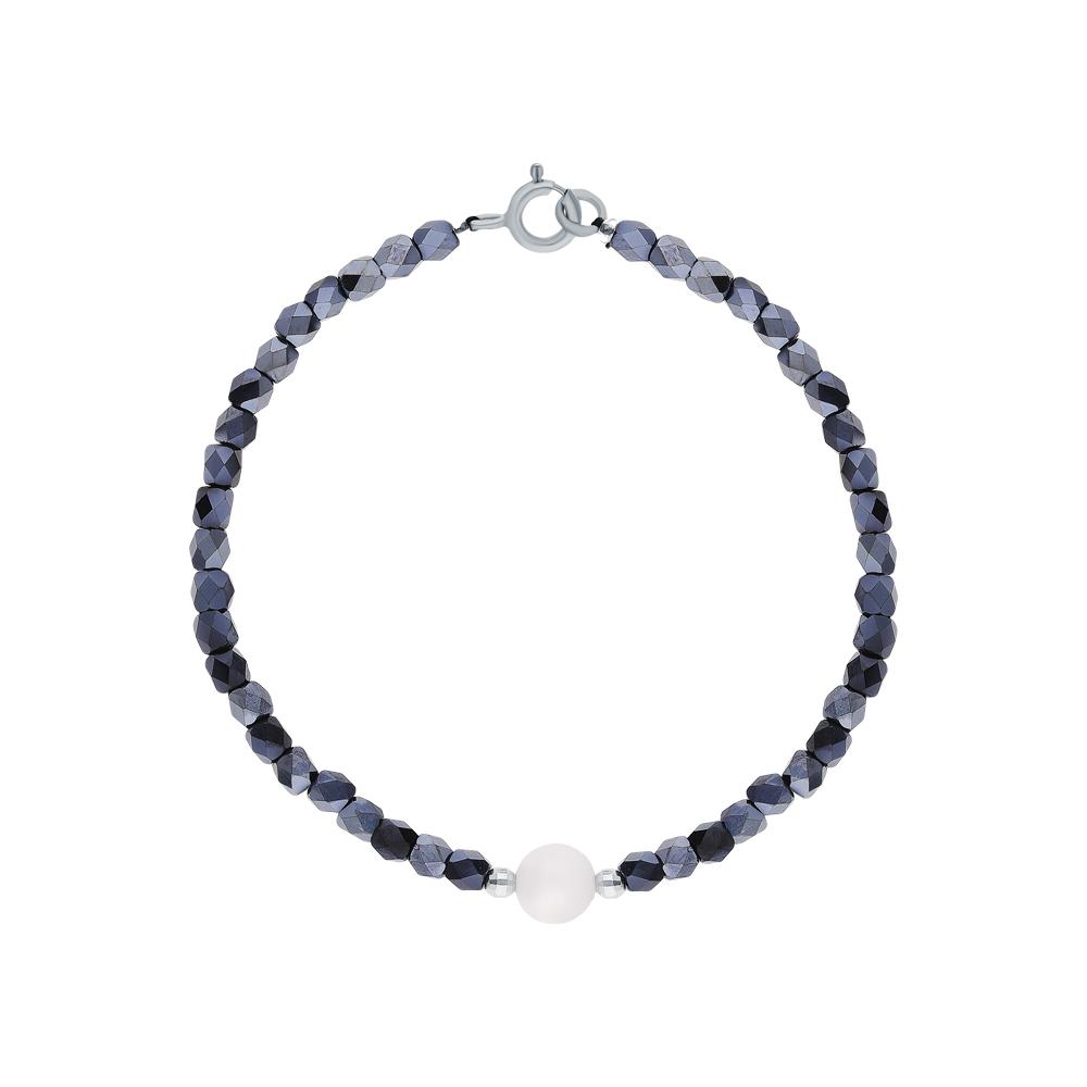 Фото «Серебряный браслет с жемчугами культивированными и ювелирными кристаллами»