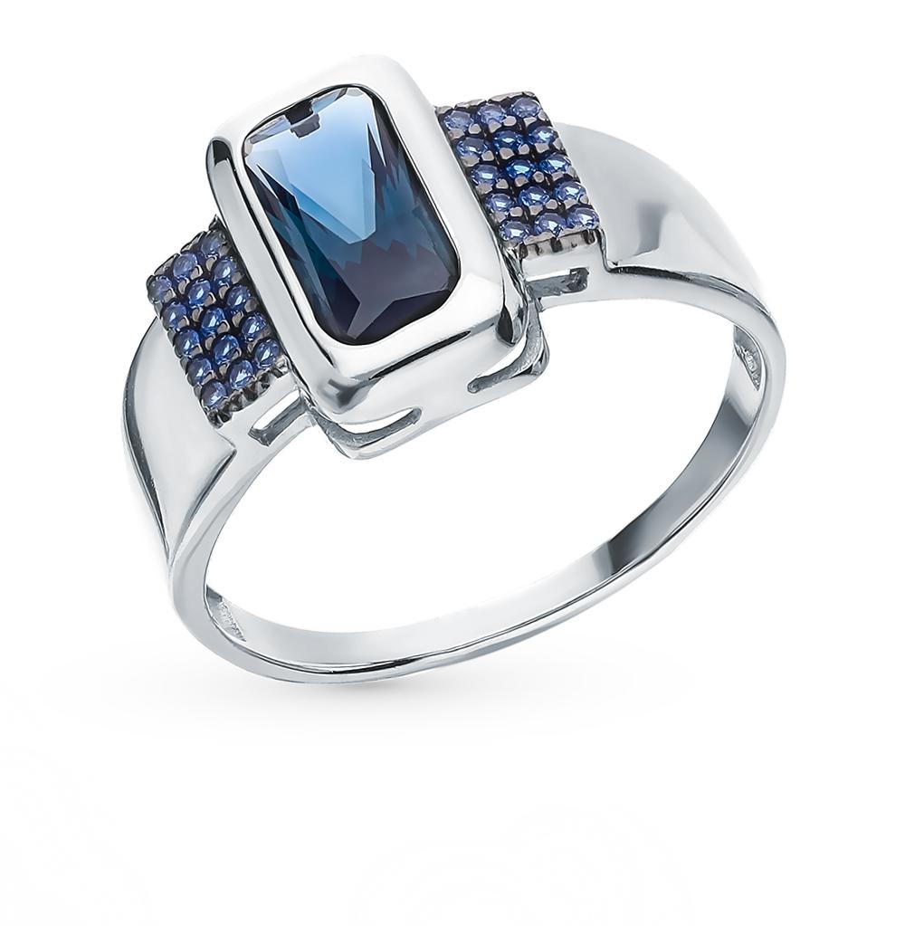 серебряное кольцо с сапфирами и топазами