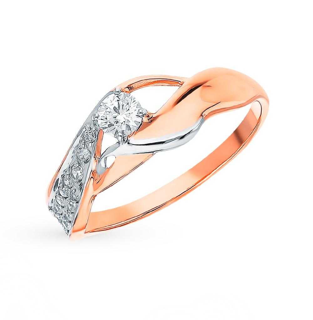 золотое кольцо с фианитами SOKOLOV 018101*