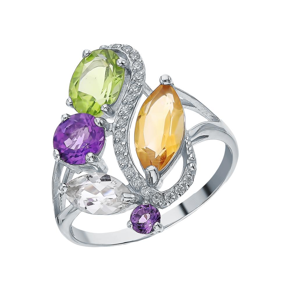 Фото «Серебряное кольцо с хризолитом, аметистом, фианитами и цитринами»