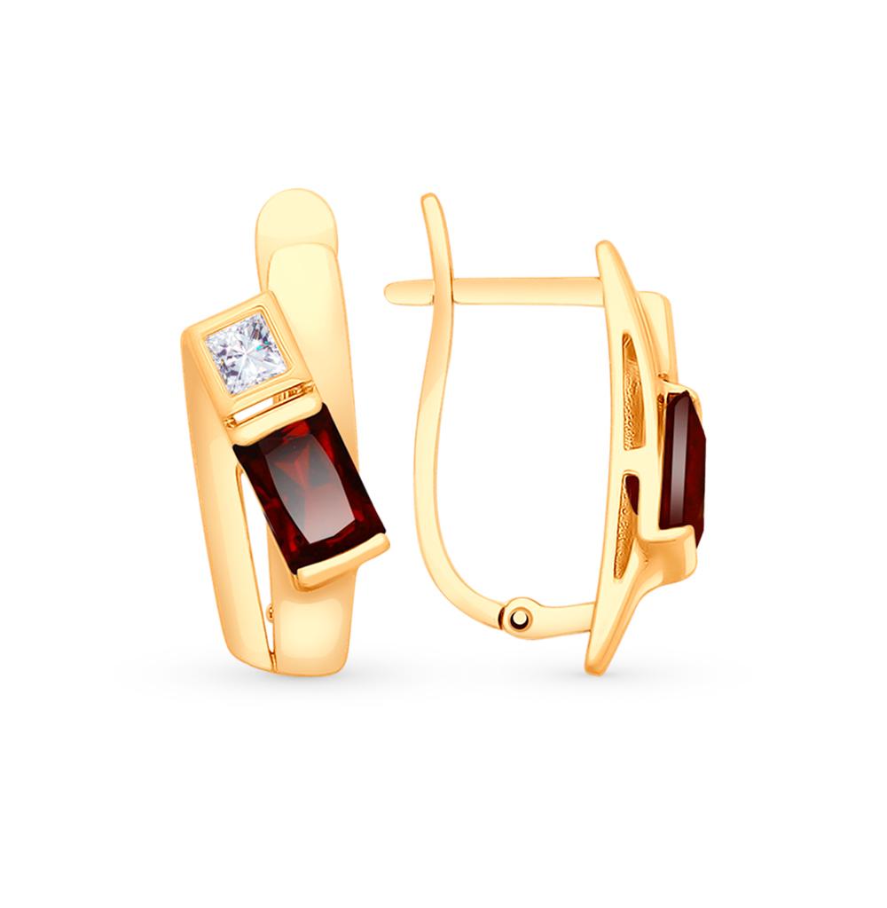 золотые серьги с фианитами и гранатом SOKOLOV 725372*