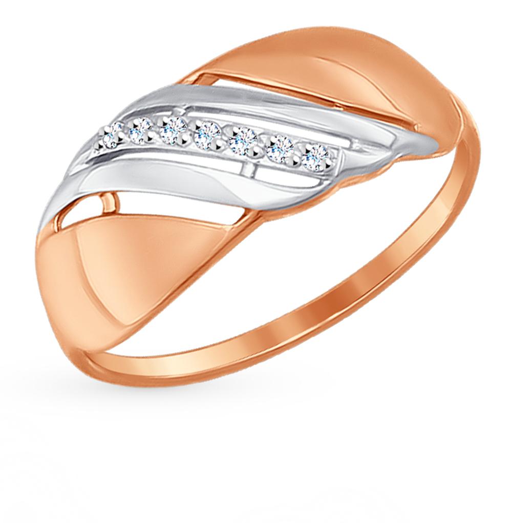 золотое кольцо с фианитами SOKOLOV 017203*