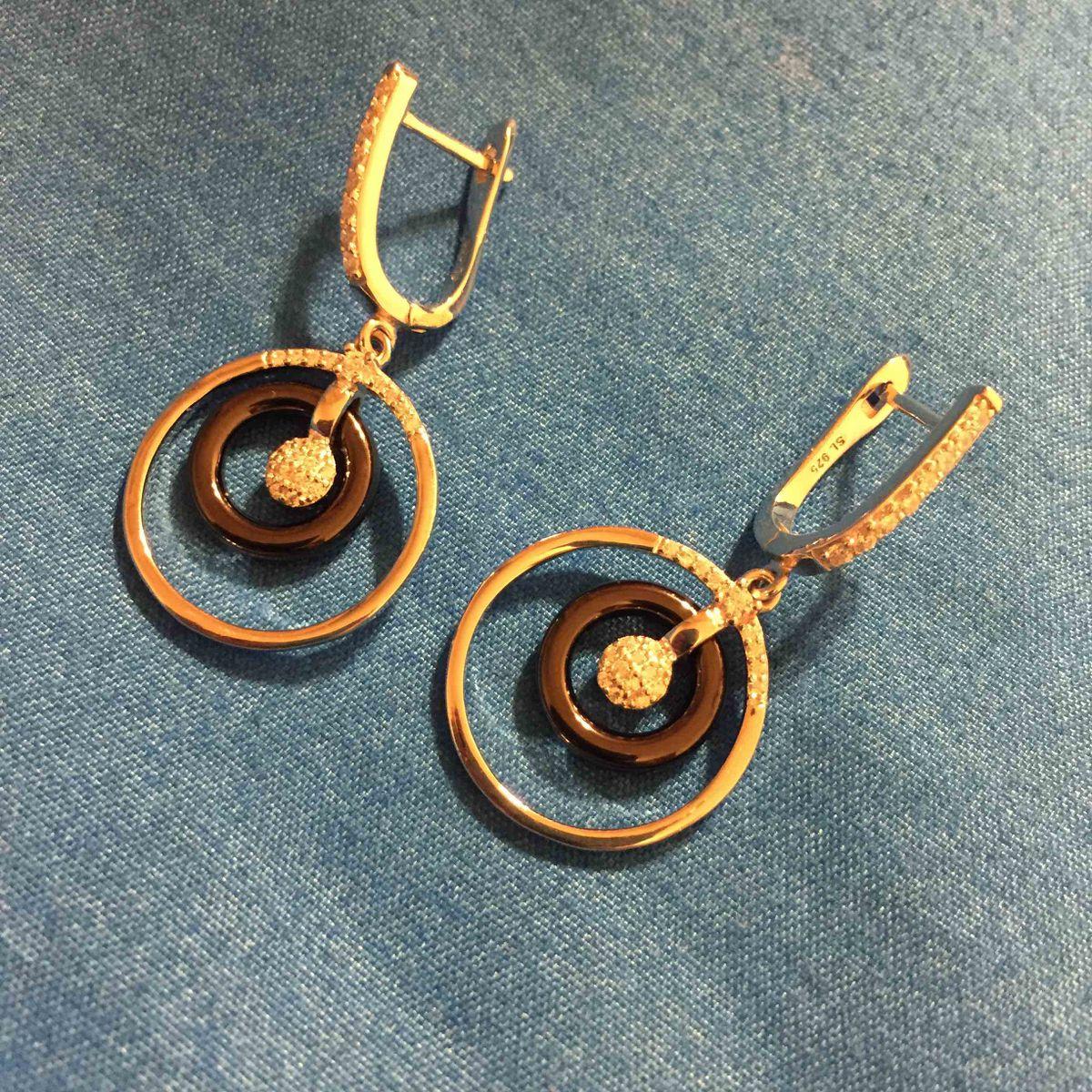 Серебряные серьги с керамикой