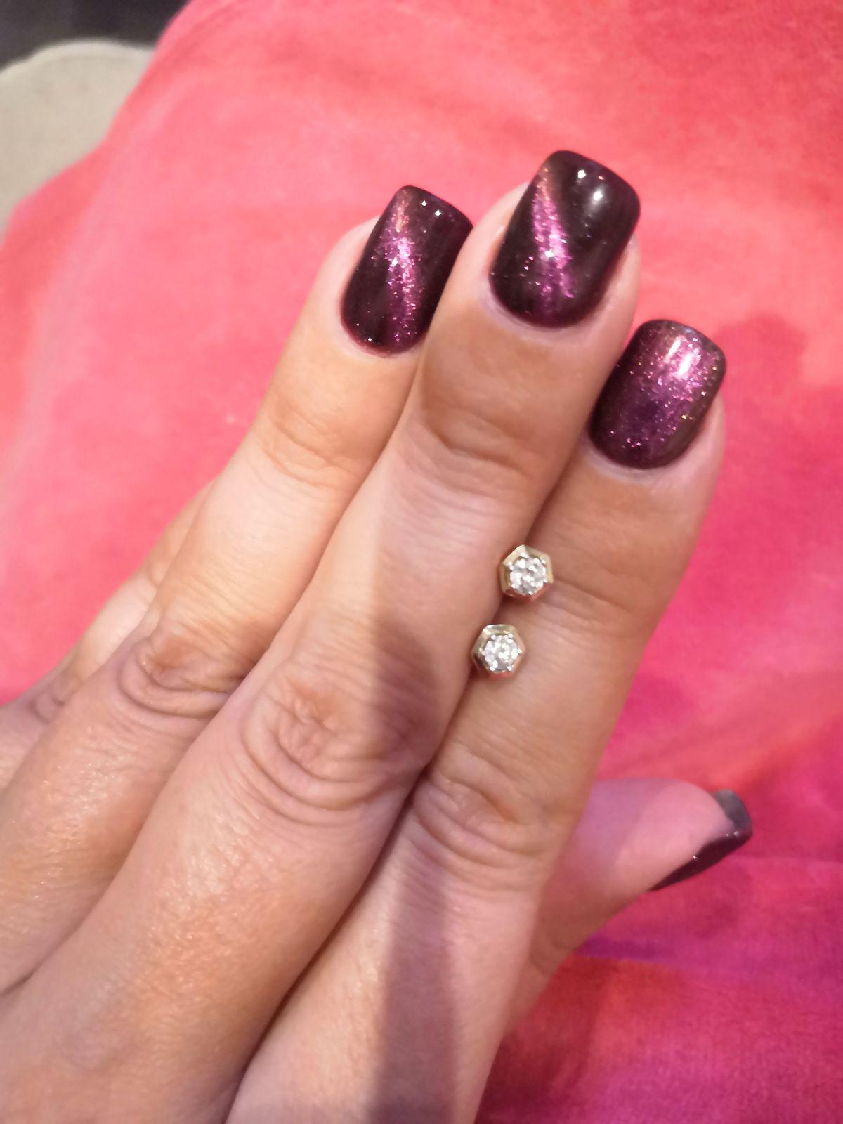 Шестигранные пусеты с бриллиантами