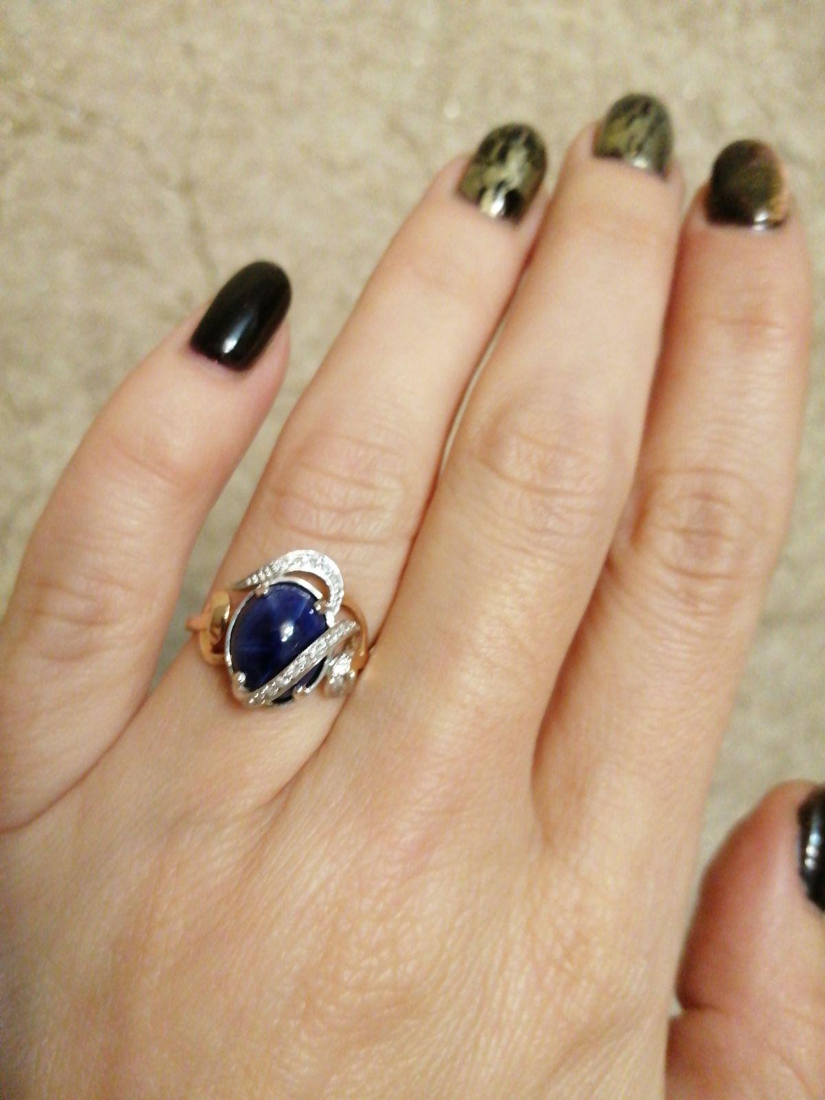 Кольцо с звездчатым сапфиром