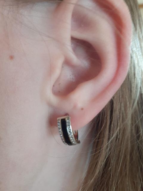 Серебряные серьги с черной эмалью