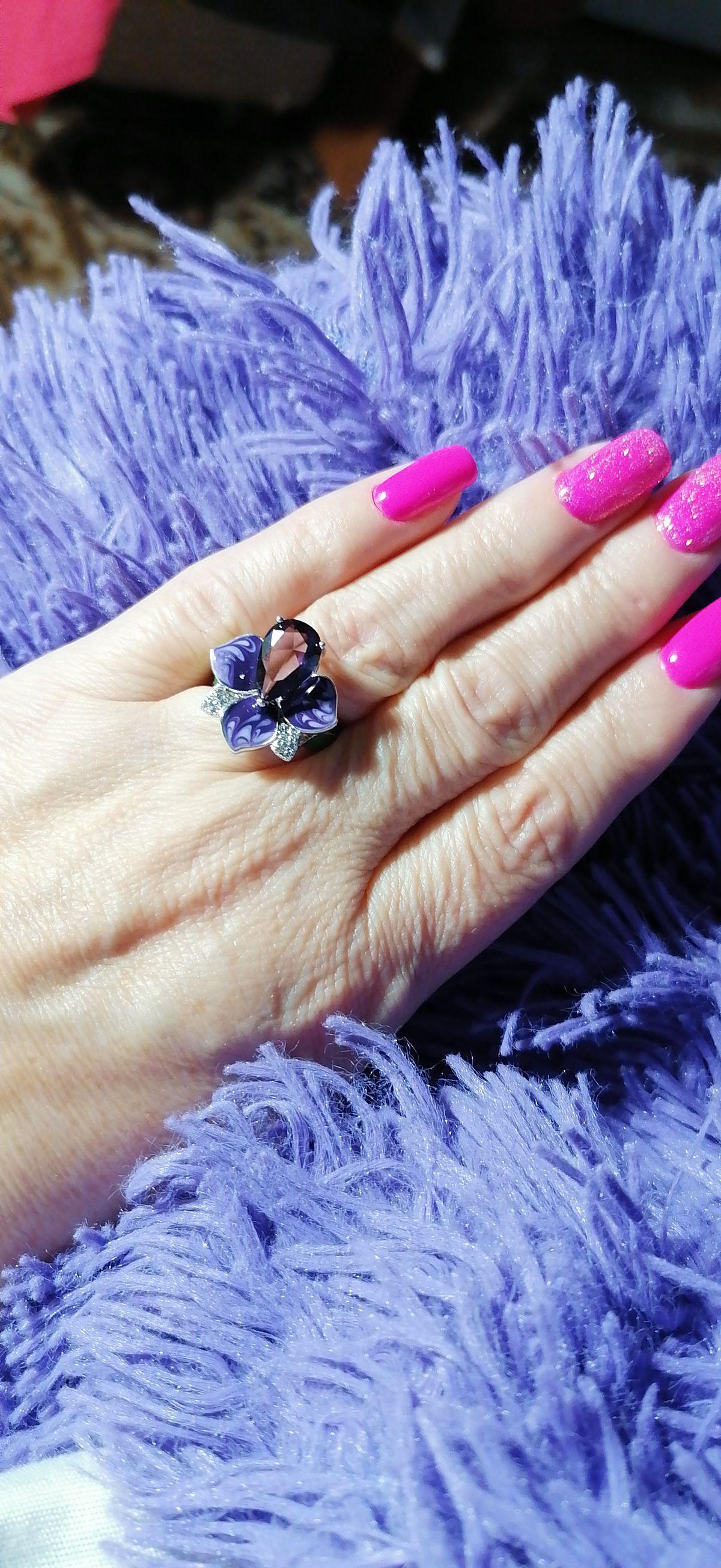 Красивое кольцо с феонитами и эмалью для солнечного лета!