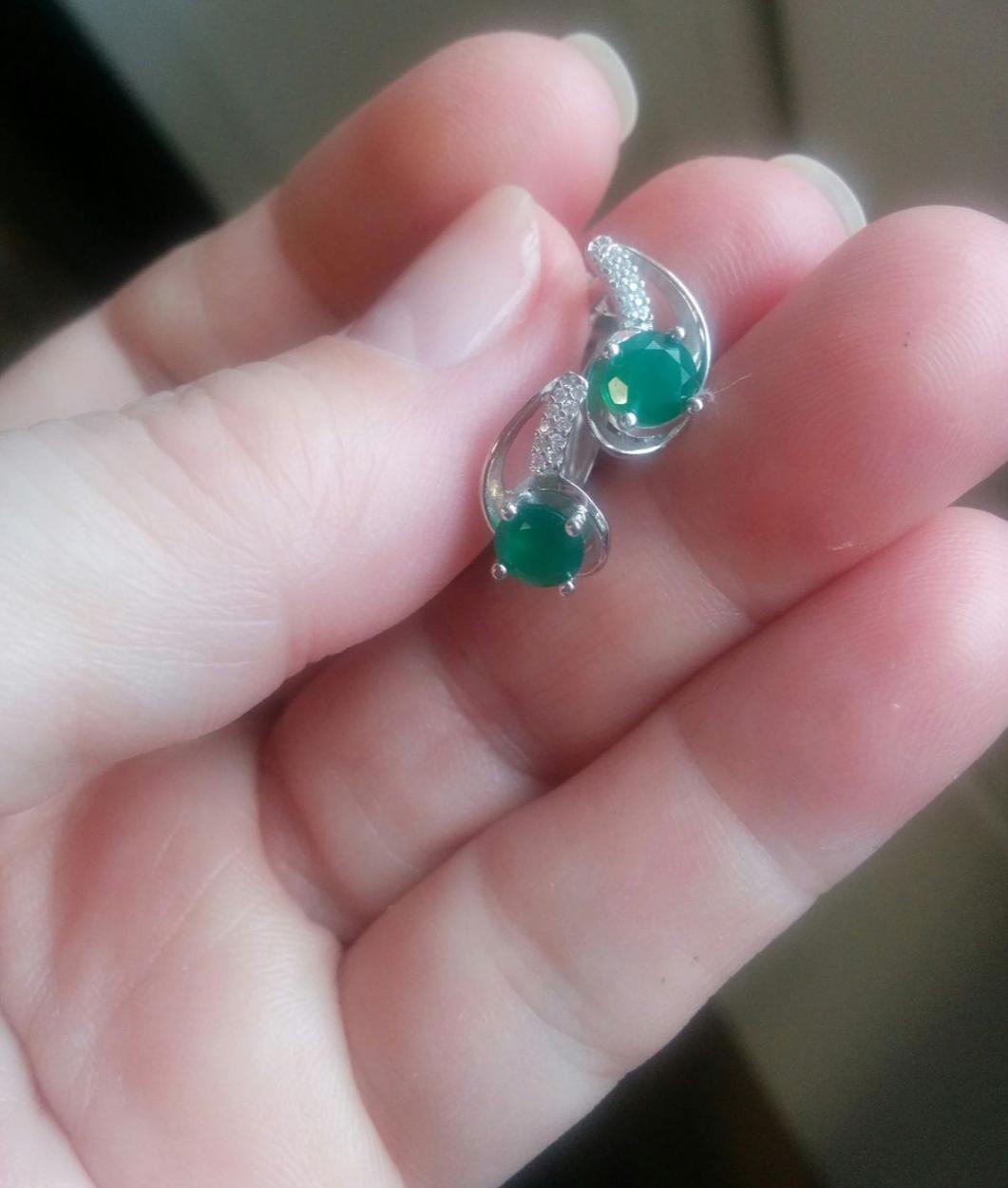 Серебрянные серьги с зелёным агатом❤❤❤