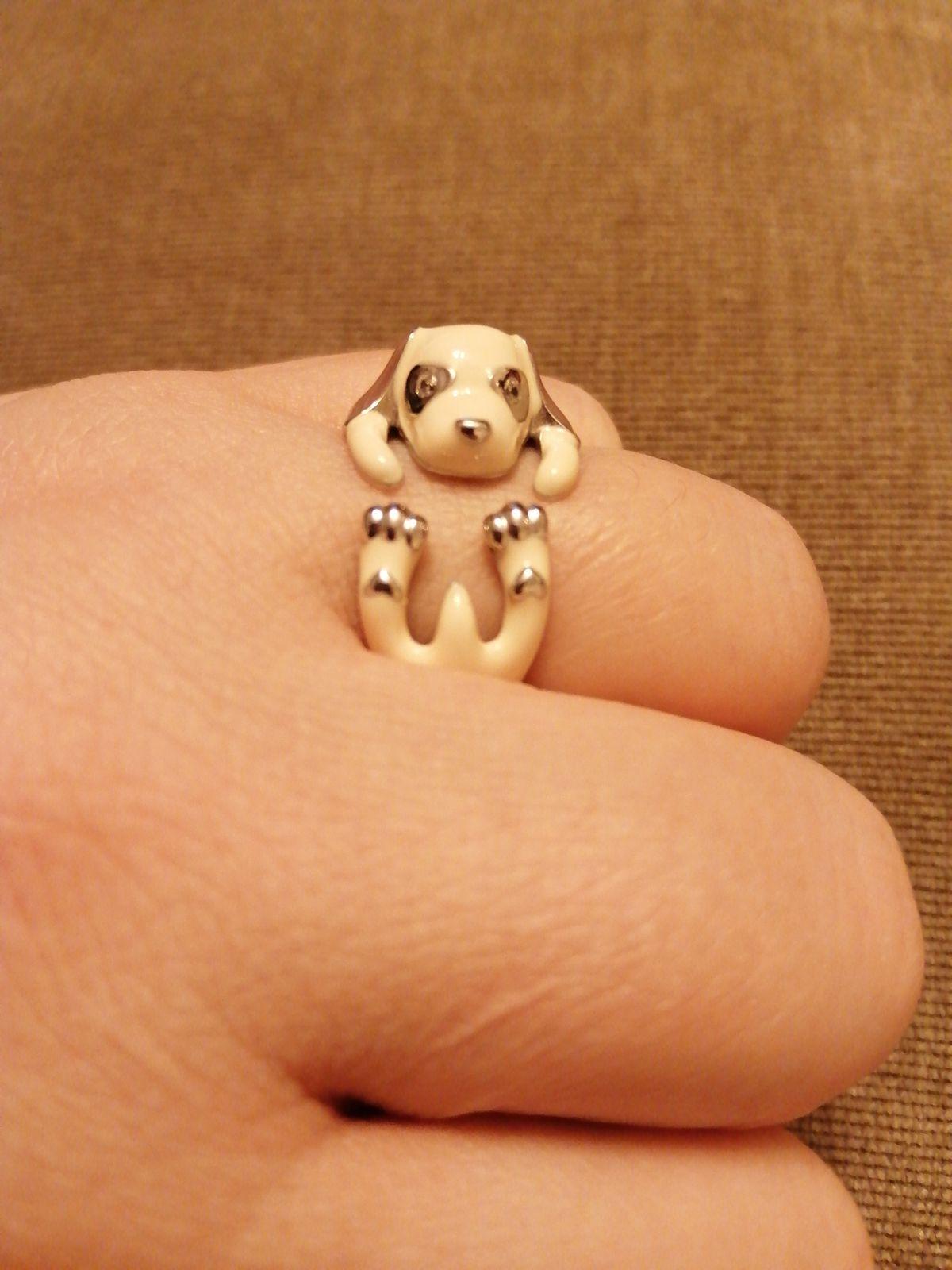 Прикольное серебряное кольцо собачка