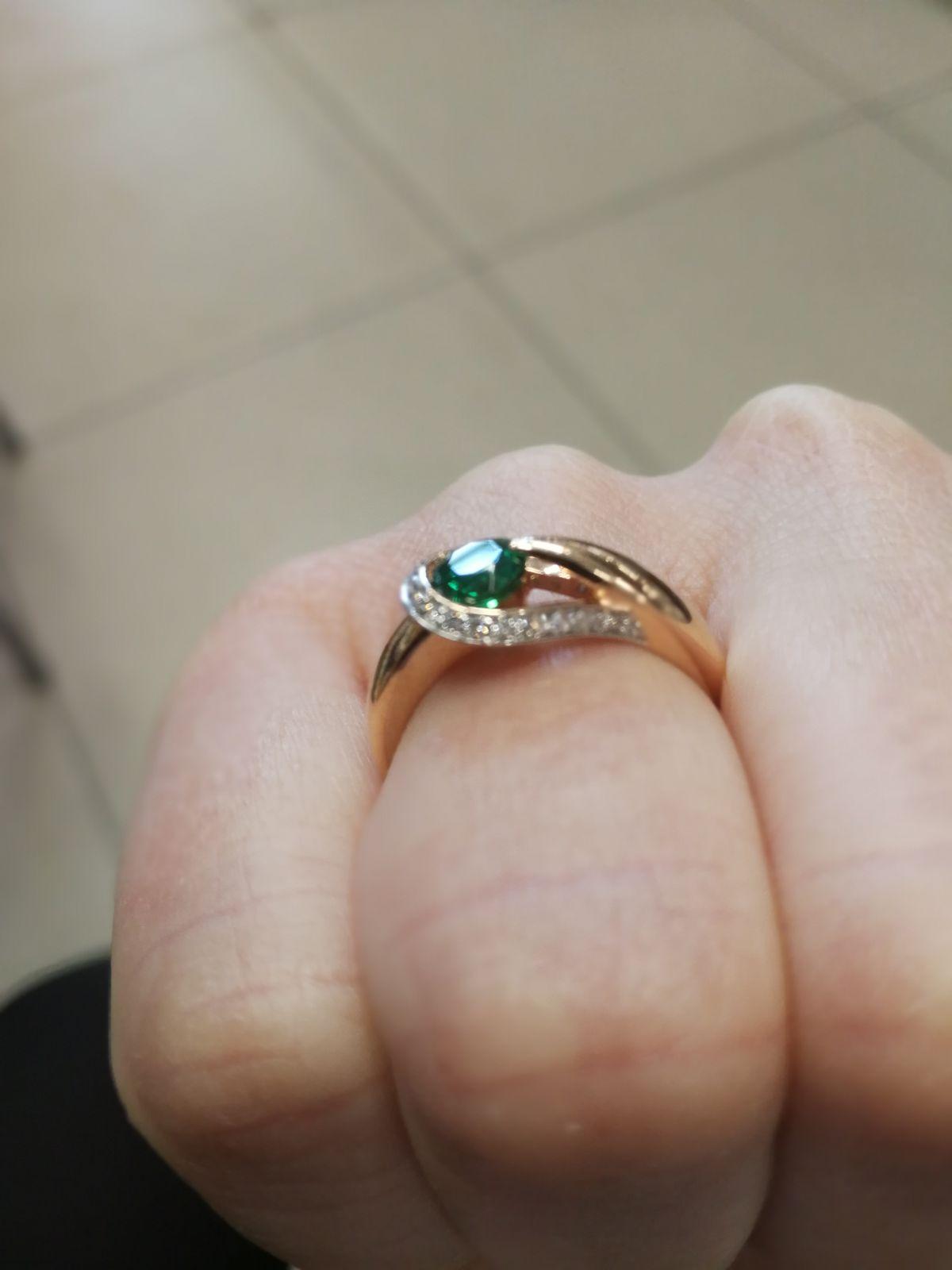 💖Золотое кольцо с изумрудом и бриллиантами💖