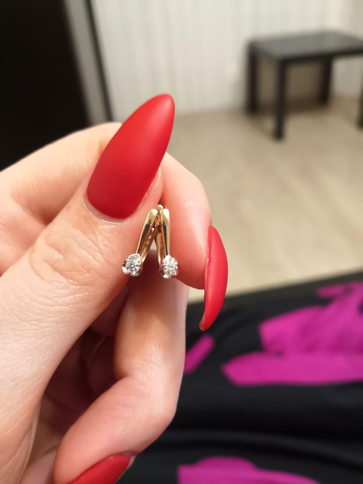 Серьги «Бриллианты Якутии» с 2 бриллиантами, 0.09 карат; Розовое золото 585