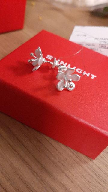 Серебрянные серьги- цветочки
