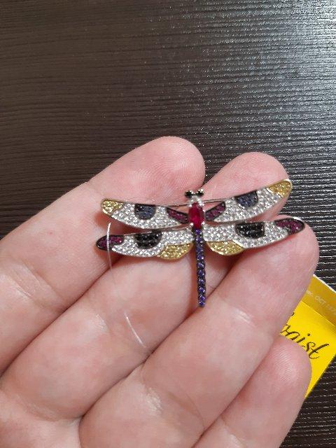 Брошь - подвеска стрекозка с фианитиками