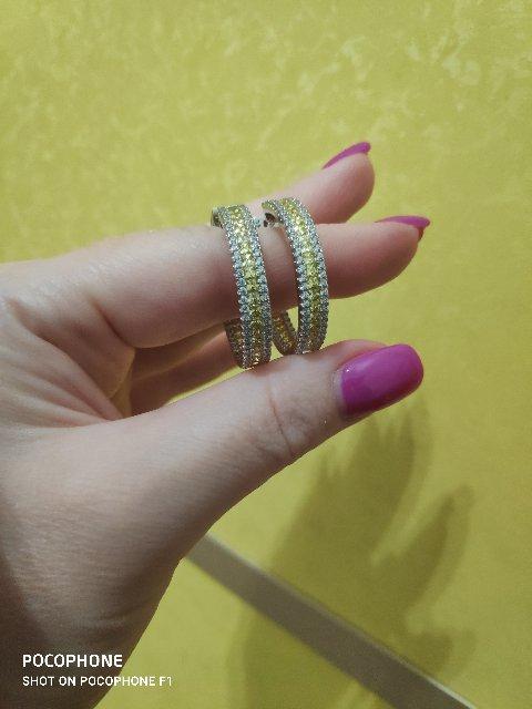 Серьги кольца в серебре