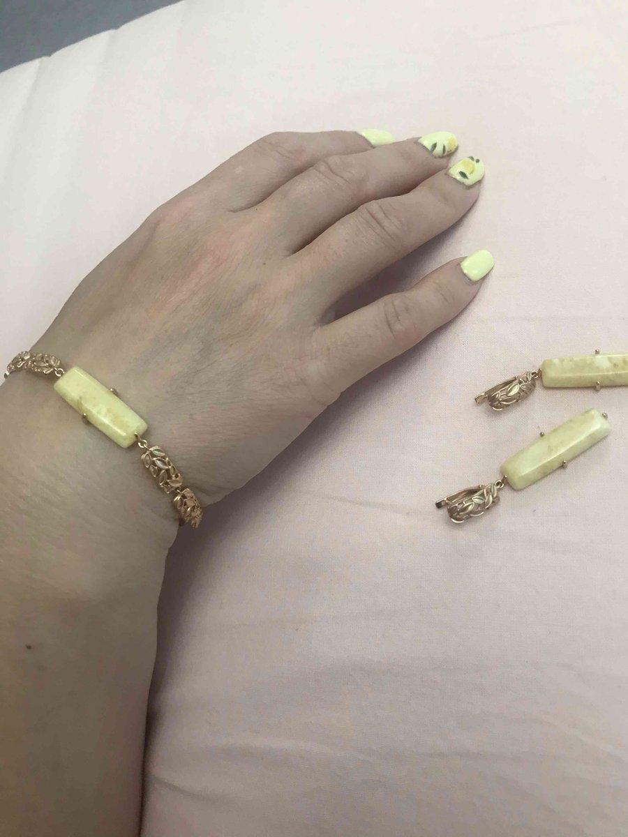 Нежный милый браслет с желтым янтарем