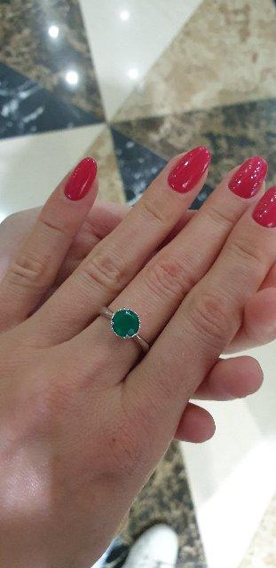 Кольцо серебро с зелёным агатом