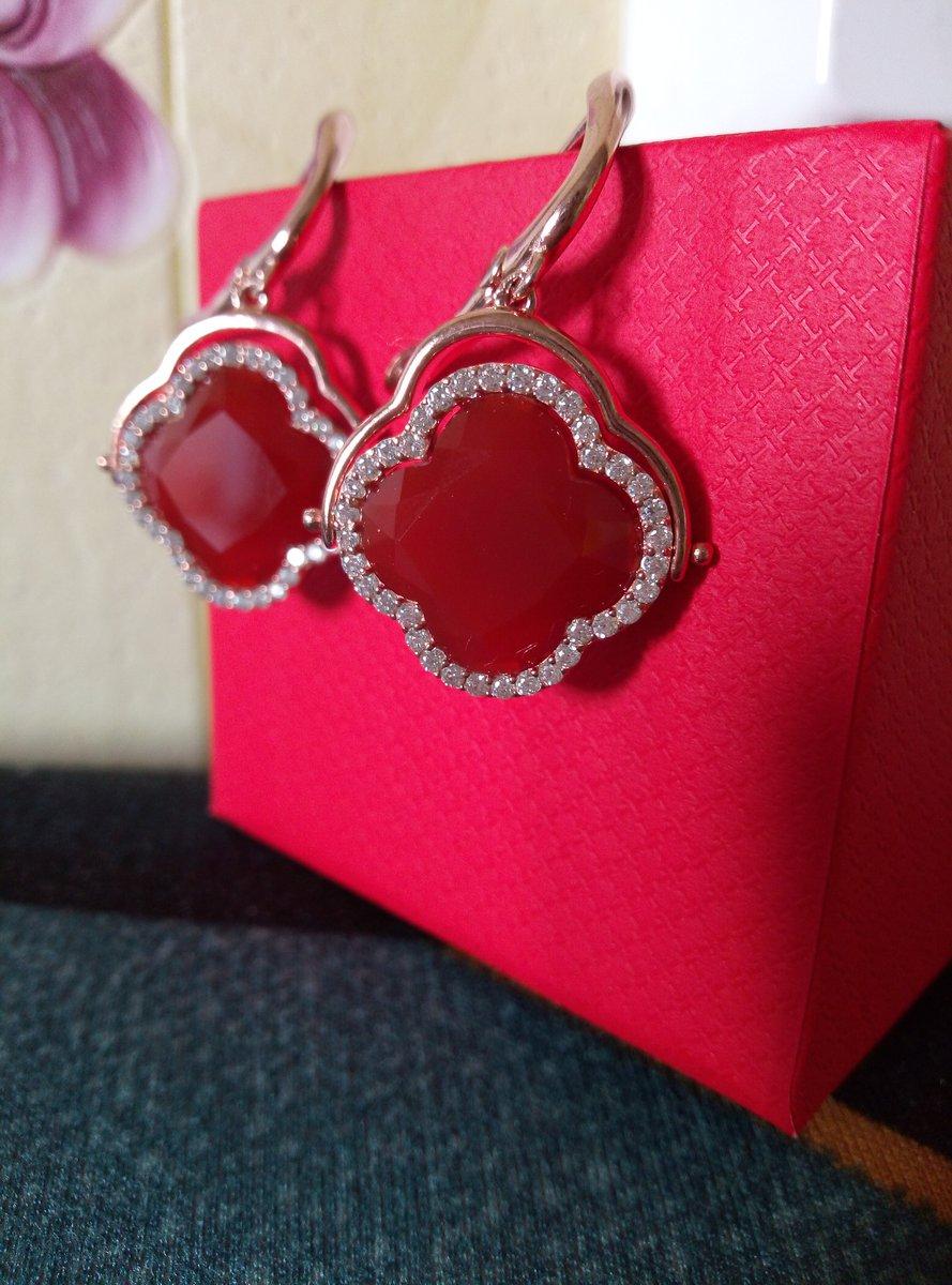 Серебряные серьги с красными агатами.