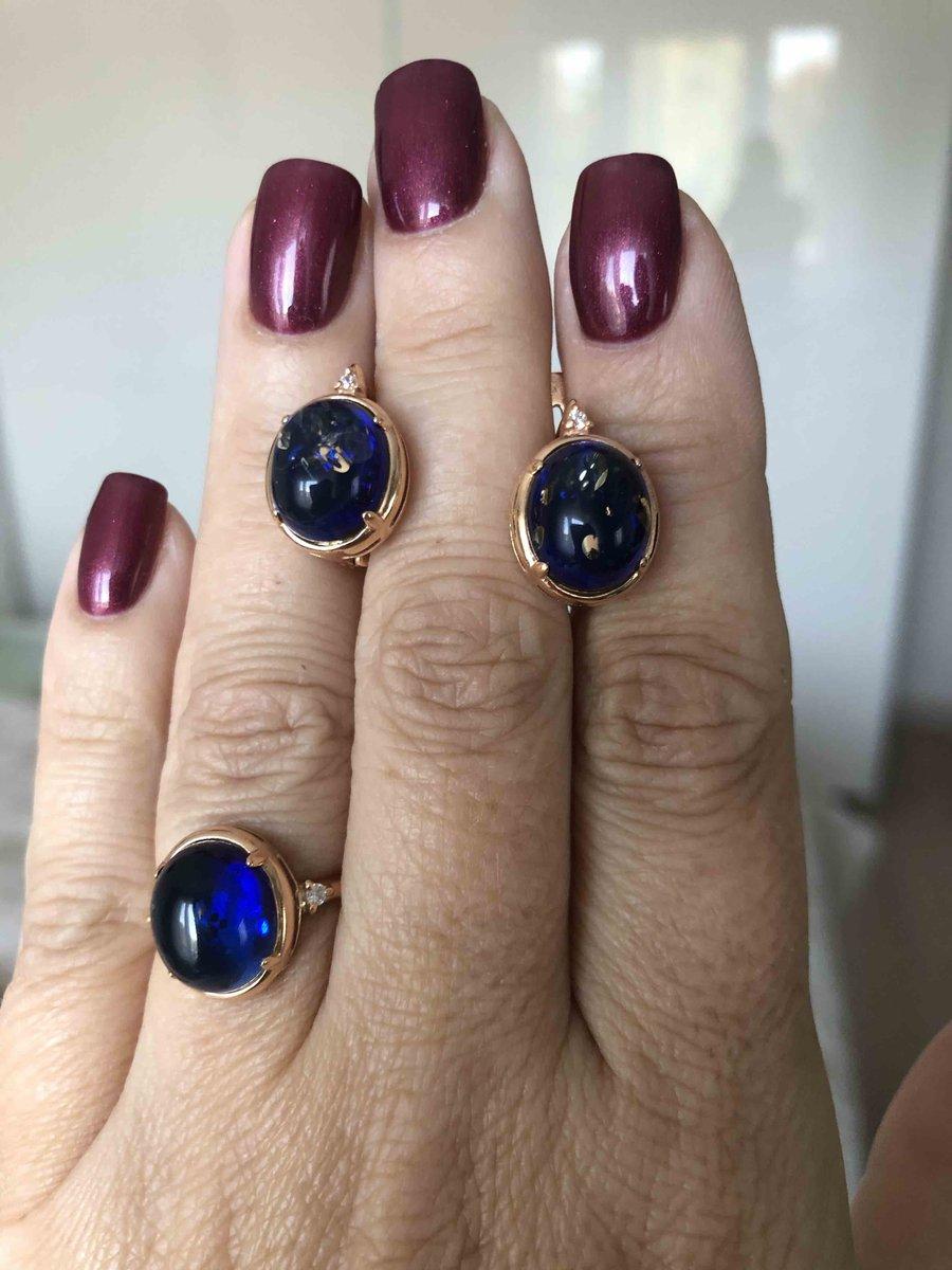 Серьги с синим янтарем