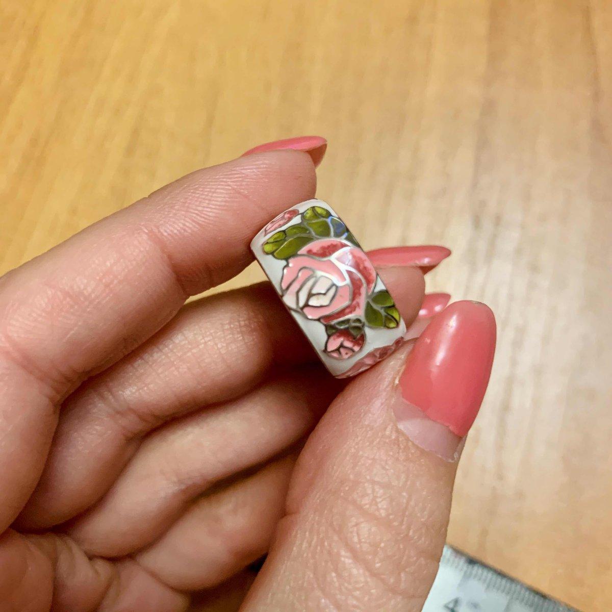 Колечко эмаль розы