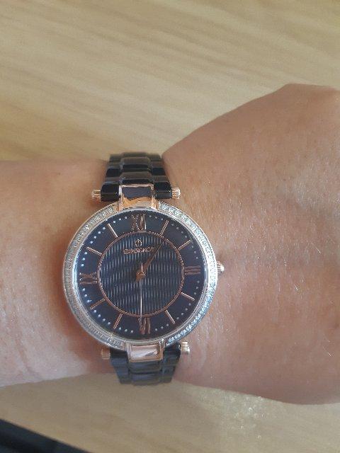 Часы с кристалами swarovski с керамическим браслетом