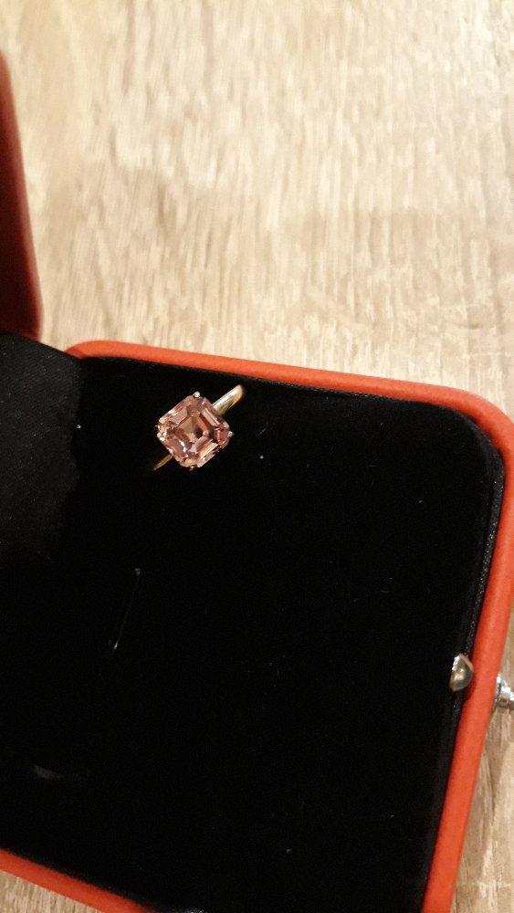 Позолоченное кольцо с нежным розовым камнем!